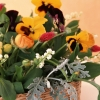 lilys of the valley, pansies, flowers