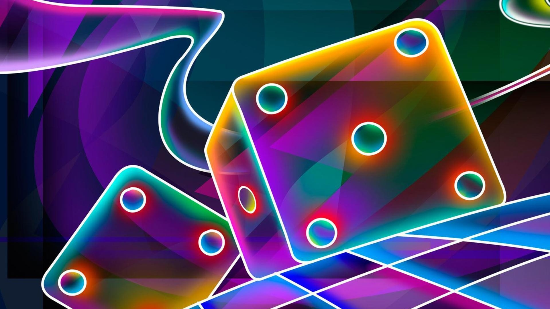 Download Wallpaper 1920x1080 3d Cube Dice Neon Full HD 1080p Background