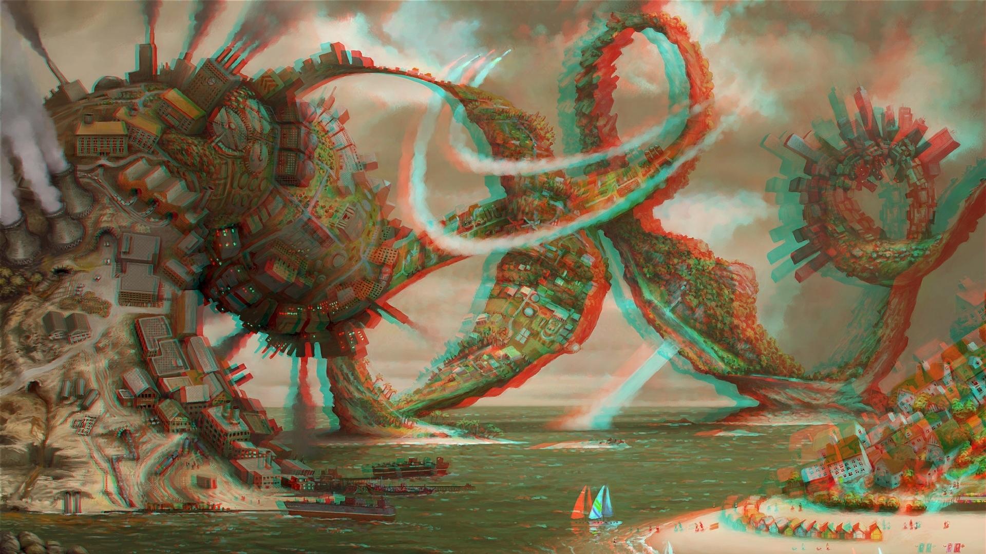 download wallpaper 1920x1080 3d, graphics, explosion, cataclysm