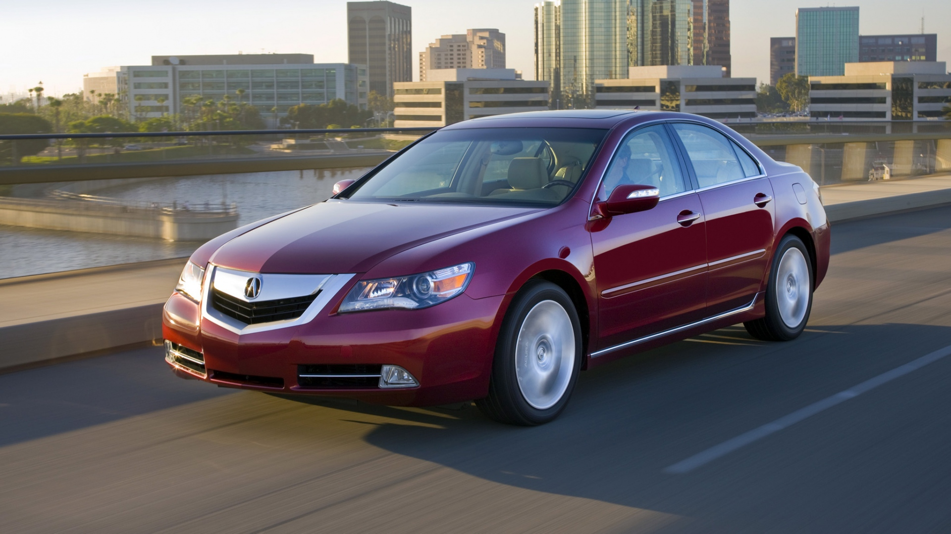 download wallpaper 1920x1080 acura rl 2008 red side view style