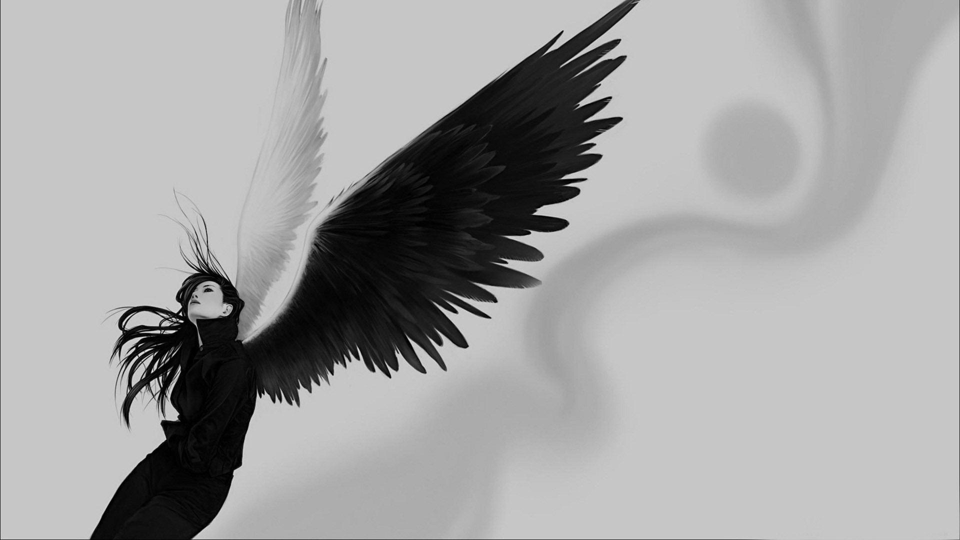 Download Wallpaper 1920x1080 Angel Wings White Black Girl Full