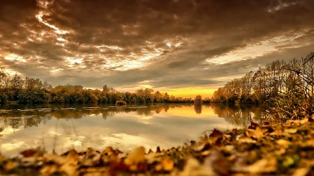 autumn, lake, sky