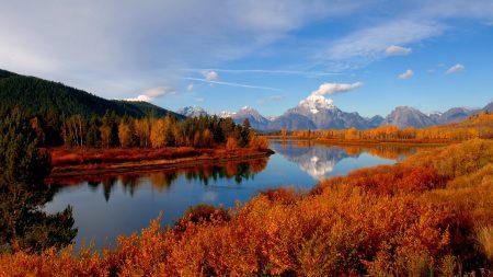 autumn, river, sky