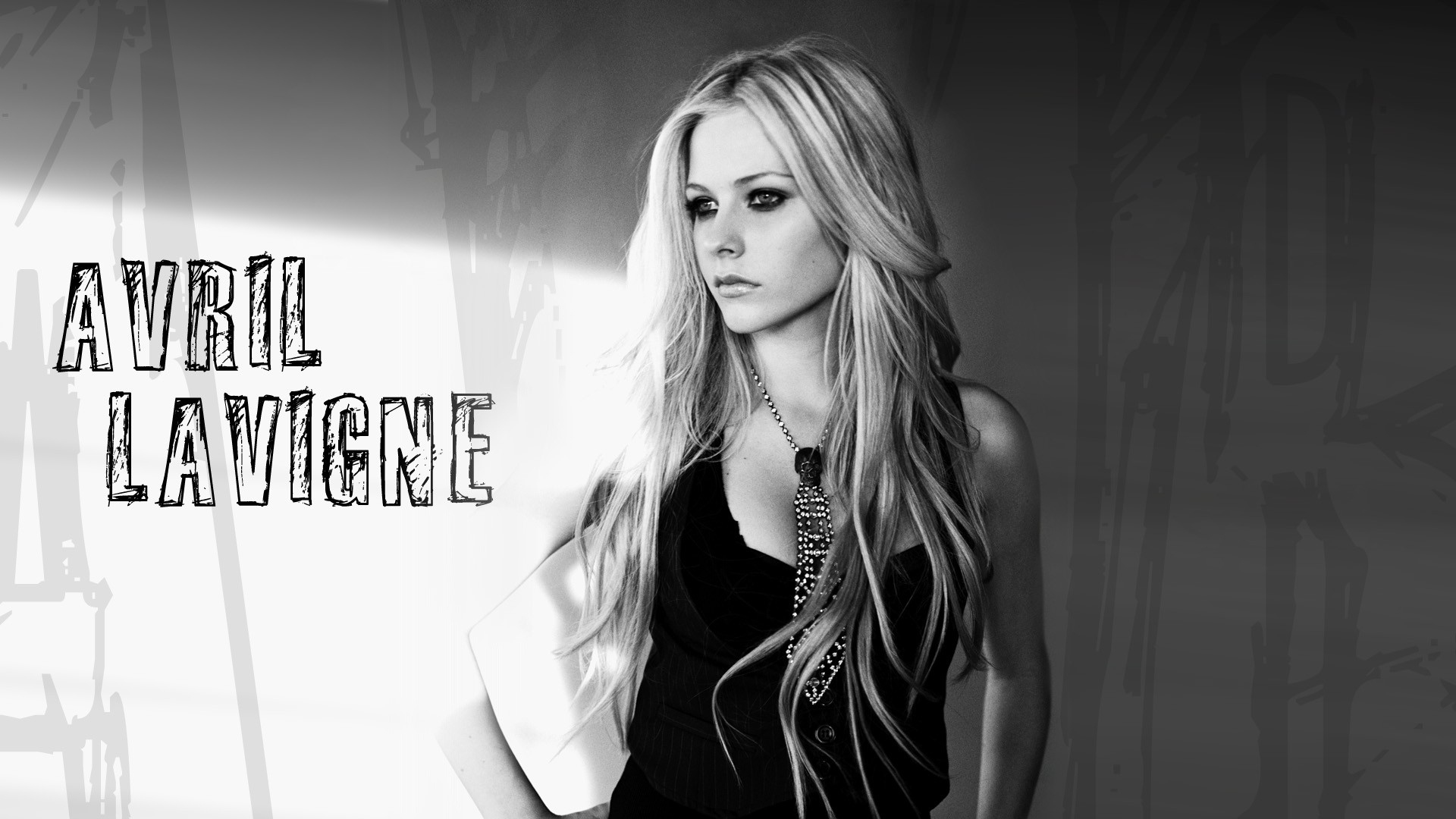 download wallpaper 1920x1080 avril lavigne, name, light, look, chain