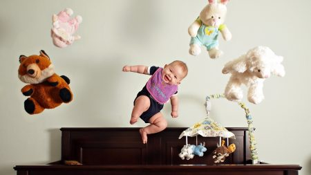 baby, bed, toys