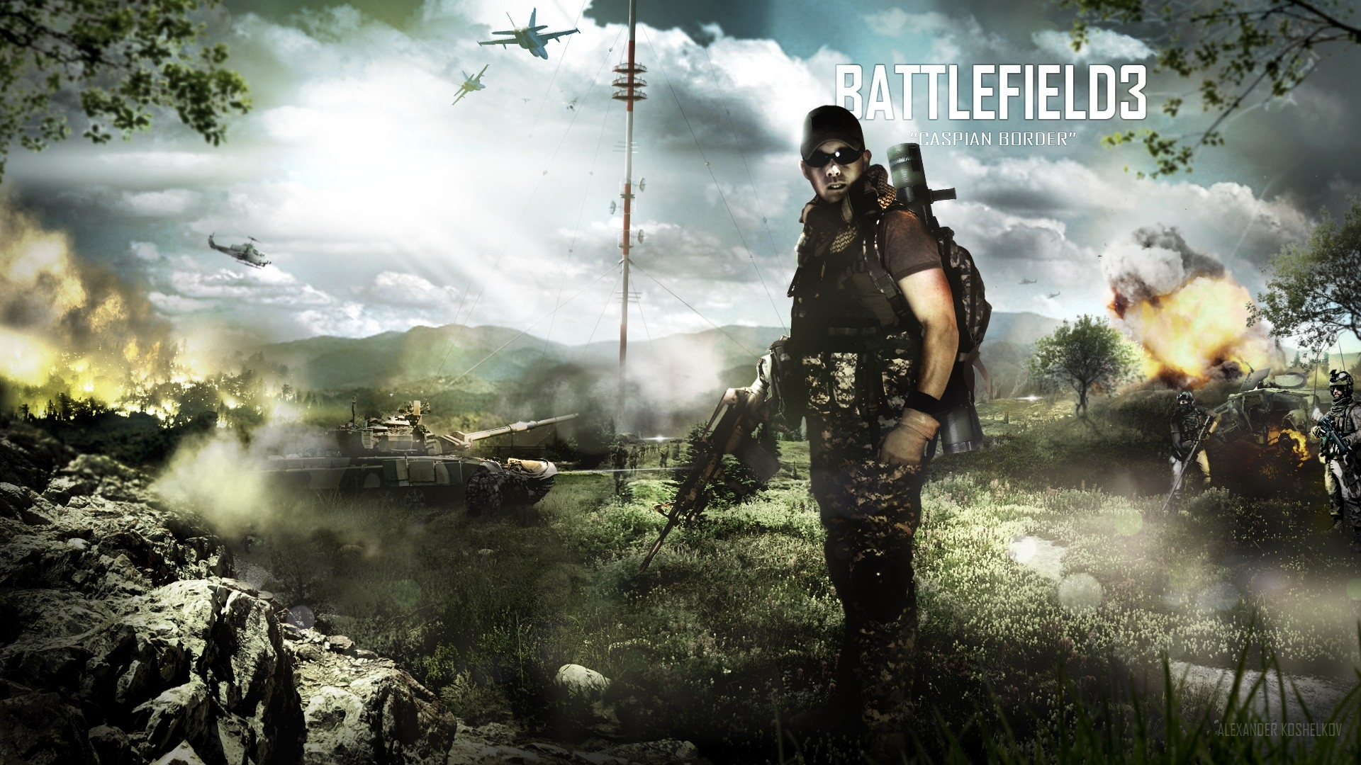 download wallpaper 1920x1080 battlefield 3, caspian border, soldier