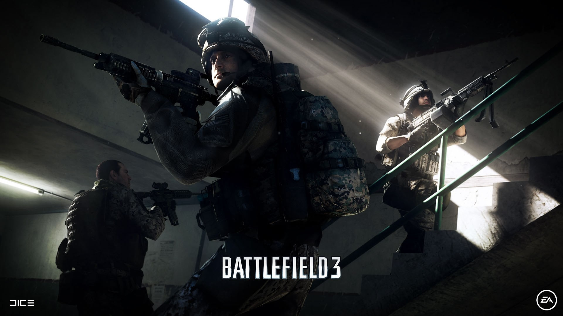 download wallpaper 1920x1080 battlefield 3, soldiers, gun, windows