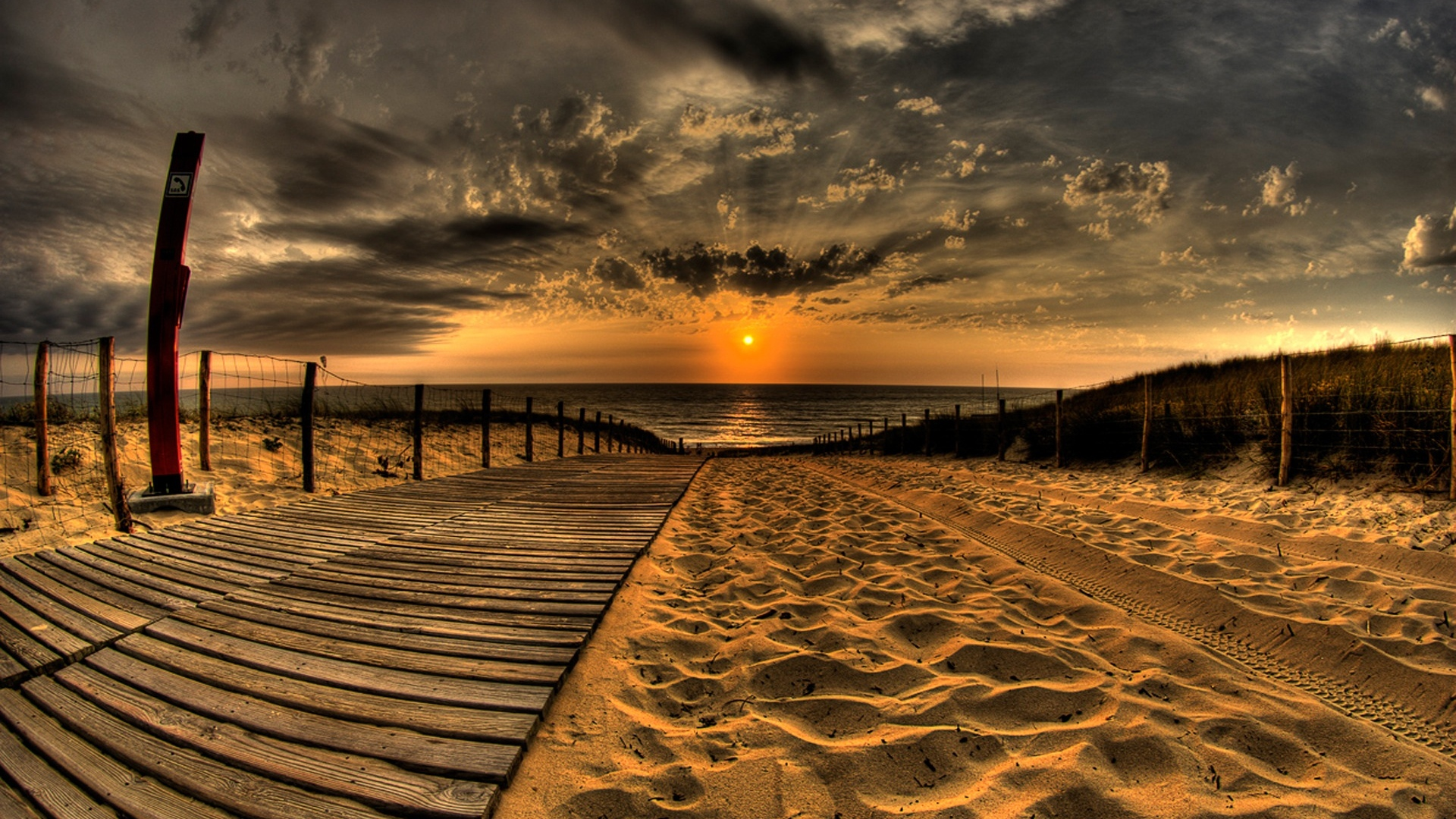 Download Wallpaper 1920x1080 Beach Sand Road Traces Fence Sun