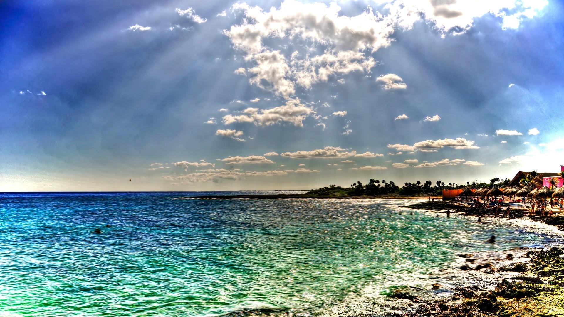 Download Wallpaper 1920x1080 Beach Sea Sun Beams Colors Coast