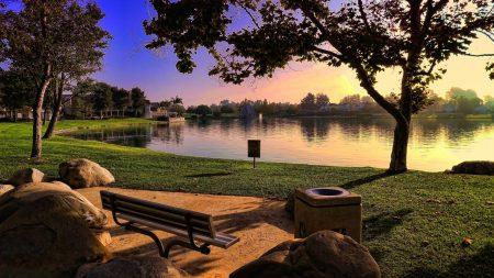bench, park, lake