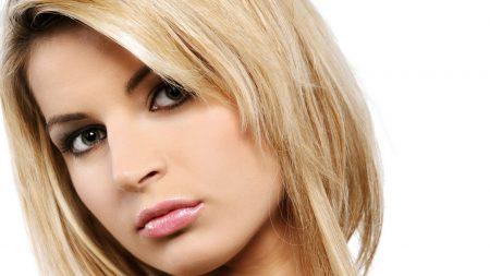 Download Wallpaper 1920x1080 nikki case, green-eyed, blonde, eyes, face Full HD 1080p HD Background
