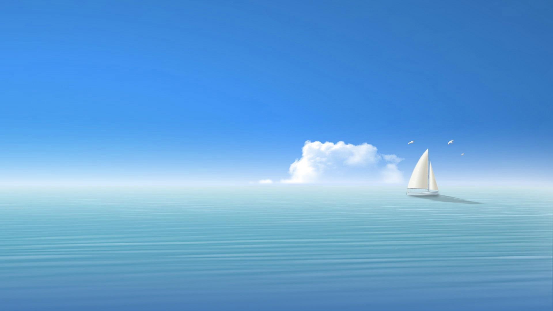 Download Wallpaper 1920x1080 Blue Sea Ship Sky Full HD 1080p