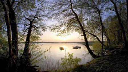 boats, coast, lake