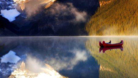 boats, lake, mountains