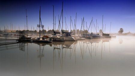 boats, pier, fog