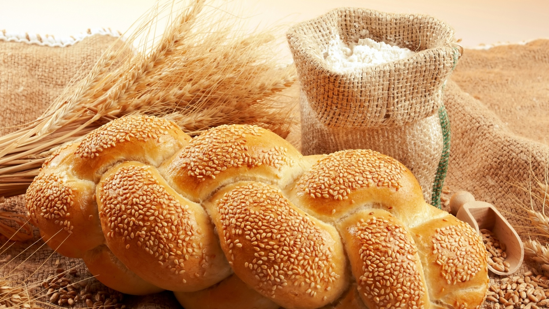 download wallpaper 1920x1080 bread, sesame, bag, flour, grain, wheat