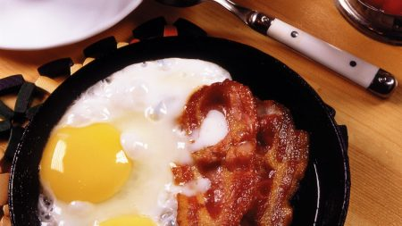 breakfast, fried eggs, bacon