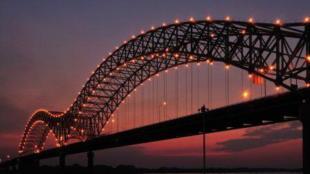 bridge, evening, lights