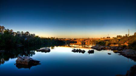 bridge, lake, grass