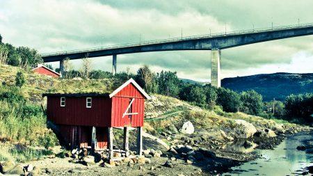 bridge, lodge, mountain river
