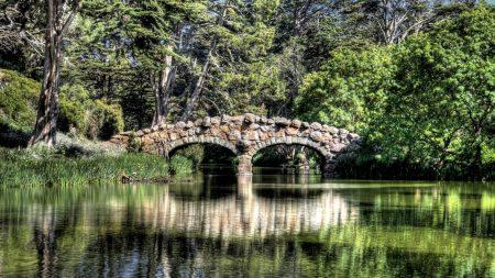 bridge, river, reflection