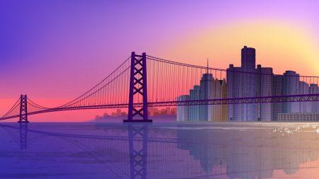 bridge, sea, buildings