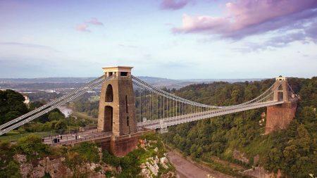 bridge, sky blue, city