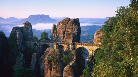 bridge, stone, nature