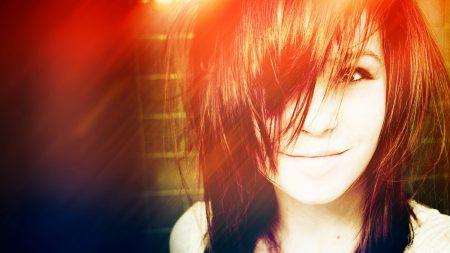 brunette, smile, face