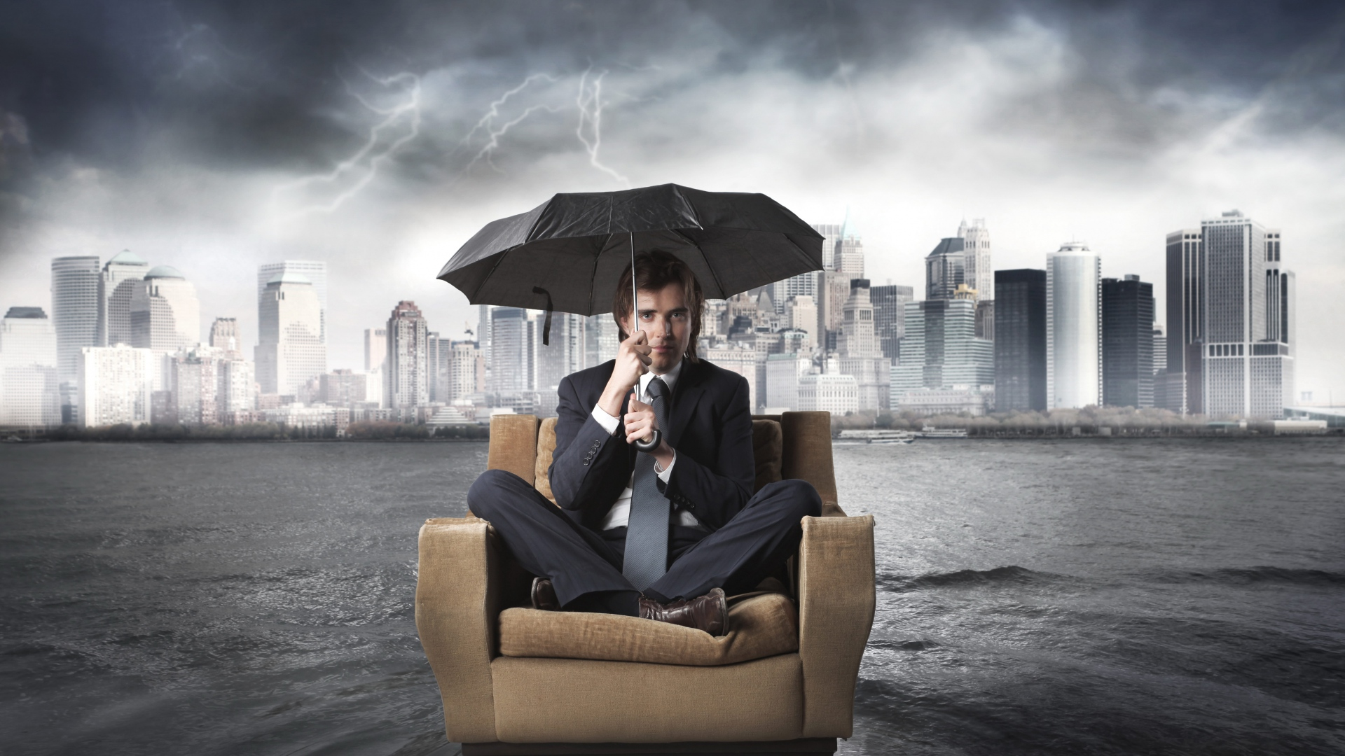 Download Wallpaper 1920x1080 Businessman Chair Flood Umbrella