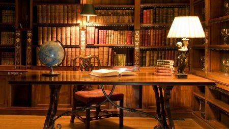 cabinet, table, book