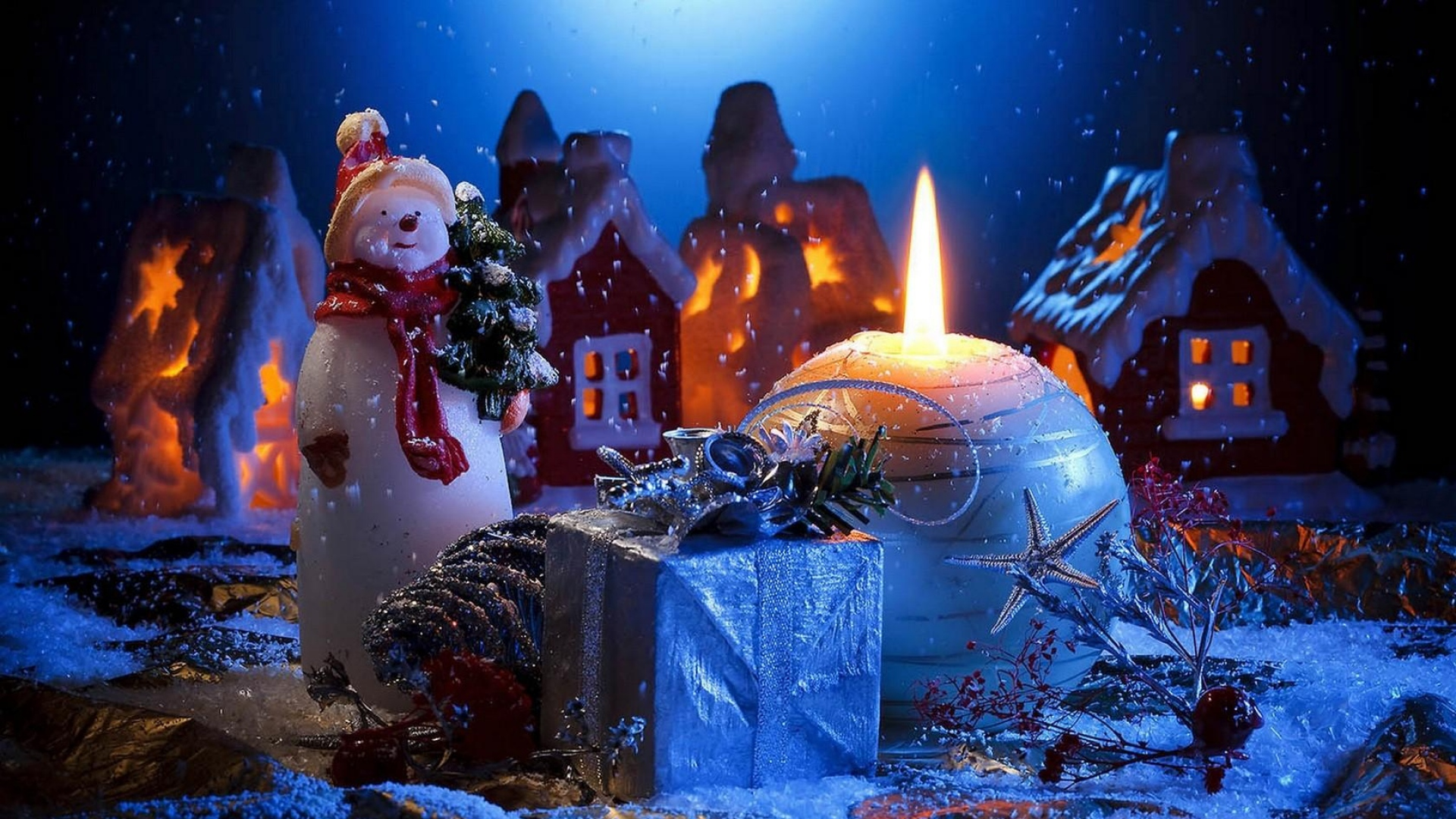 Download Wallpaper 1920x1080 Candle Snowman Gift Home Holiday New Year Christmas Full HD 1080p Background