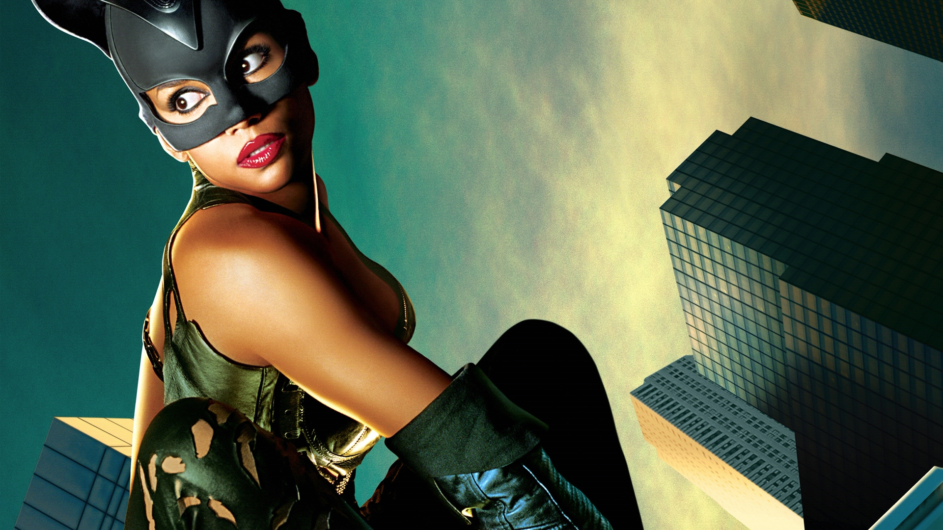 Download Wallpaper 1920x1080 Catwoman Halle Berry Mask Cat Sky