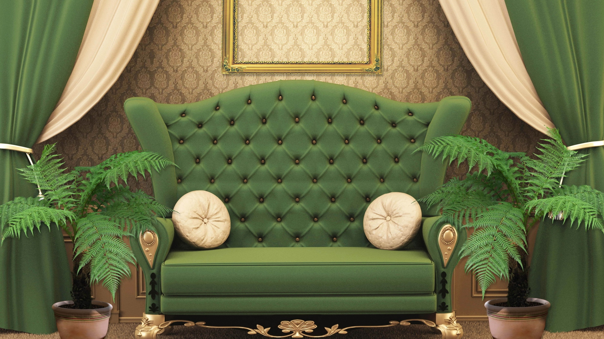 Download Wallpaper 1920x1080 Chair Green Room Full HD