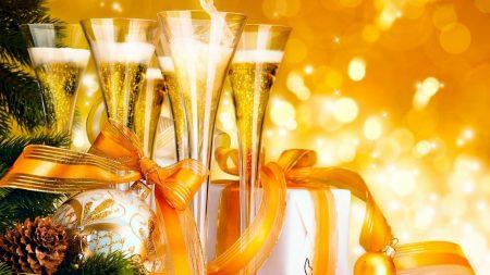 champagne, gifts, ribbon