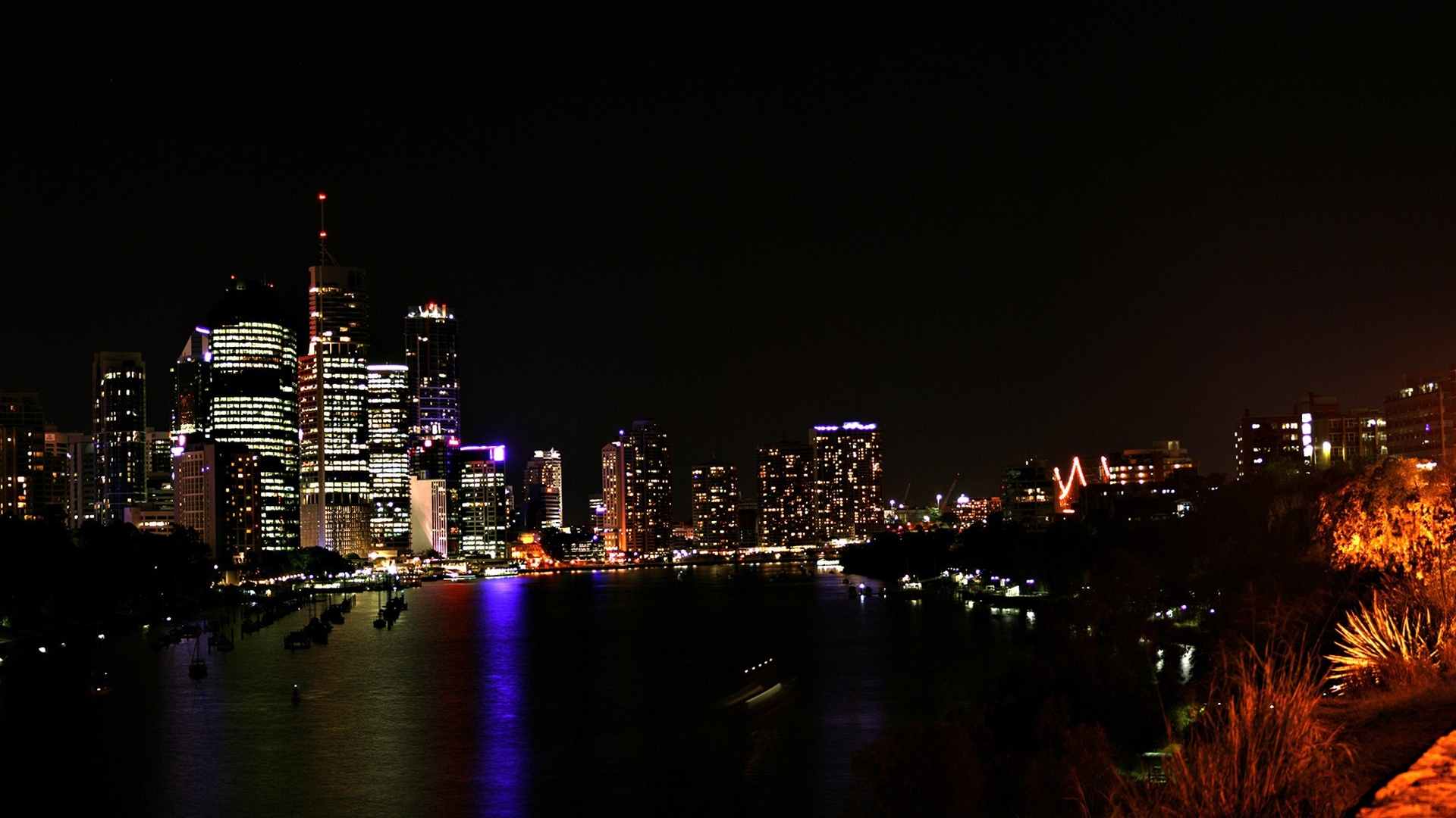 Download Wallpaper 1920x1080 Chicago Night Lights City Skyline