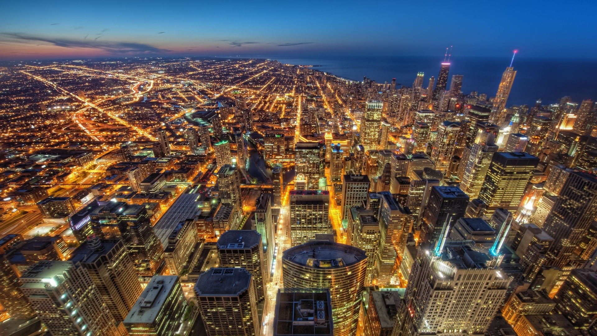 Download wallpaper 1920x1080 chicago usa skyscrapers night city chicago usa skyscrapers voltagebd Image collections