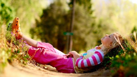child, grass, lie