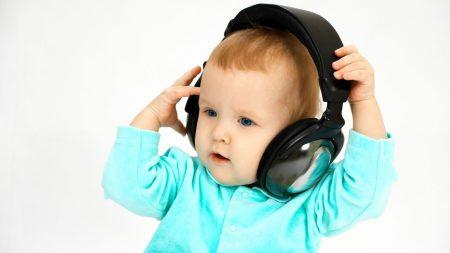child, headphones, face