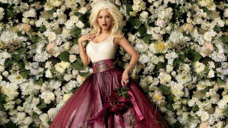 christina aguilera, dress, roses