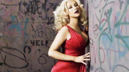christina aguilera, red, dress