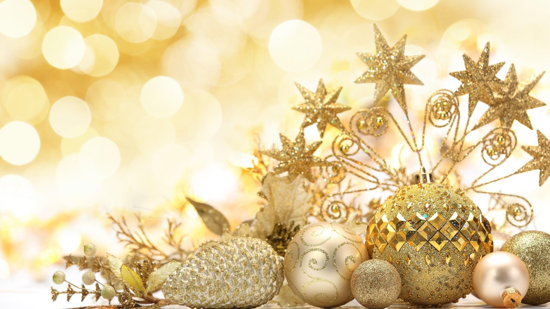 Download Wallpaper 1920x1080 christmas decorations, gold, new year ...