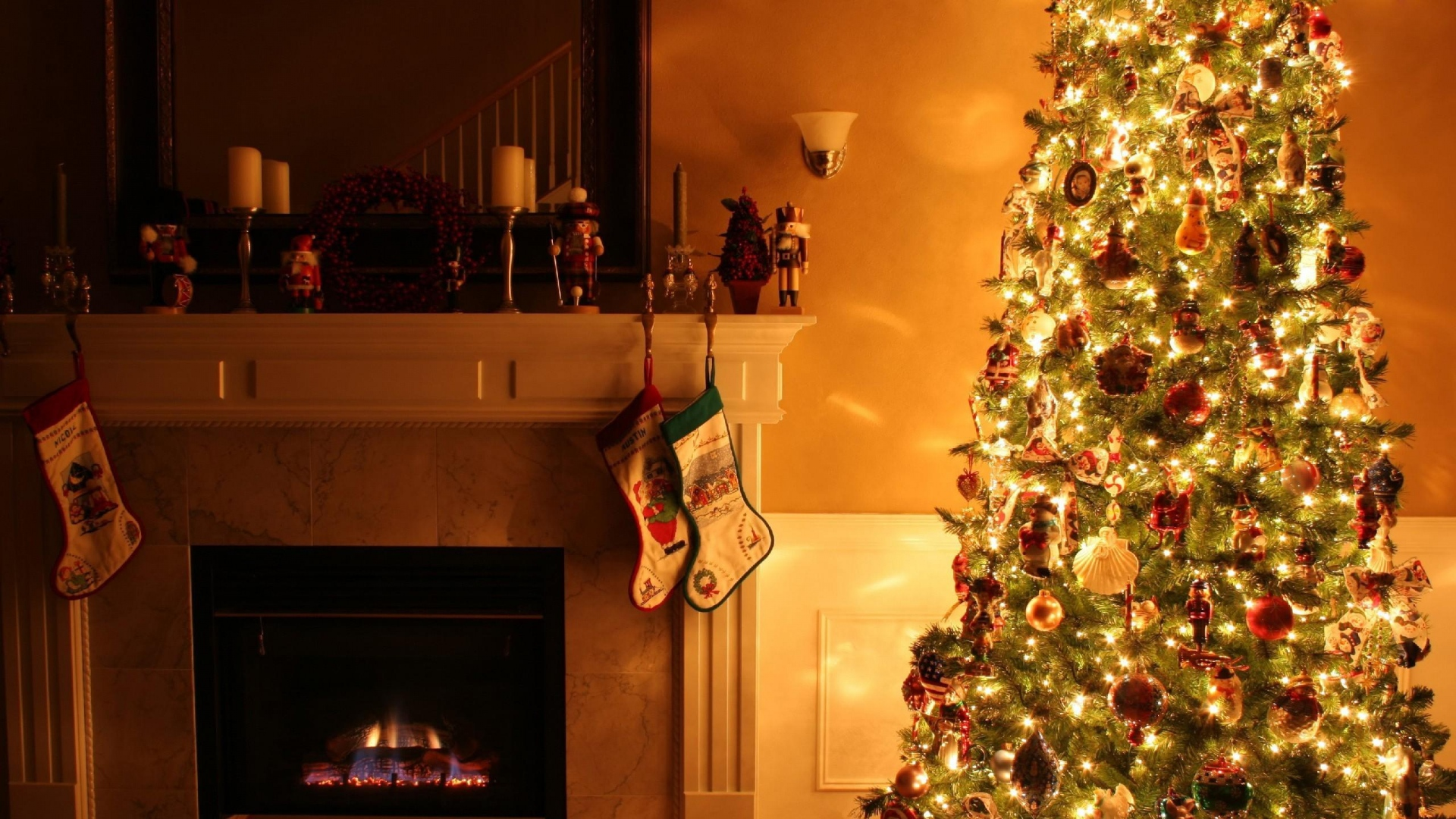 download wallpaper 1920x1080 christmas tree fireplace garland