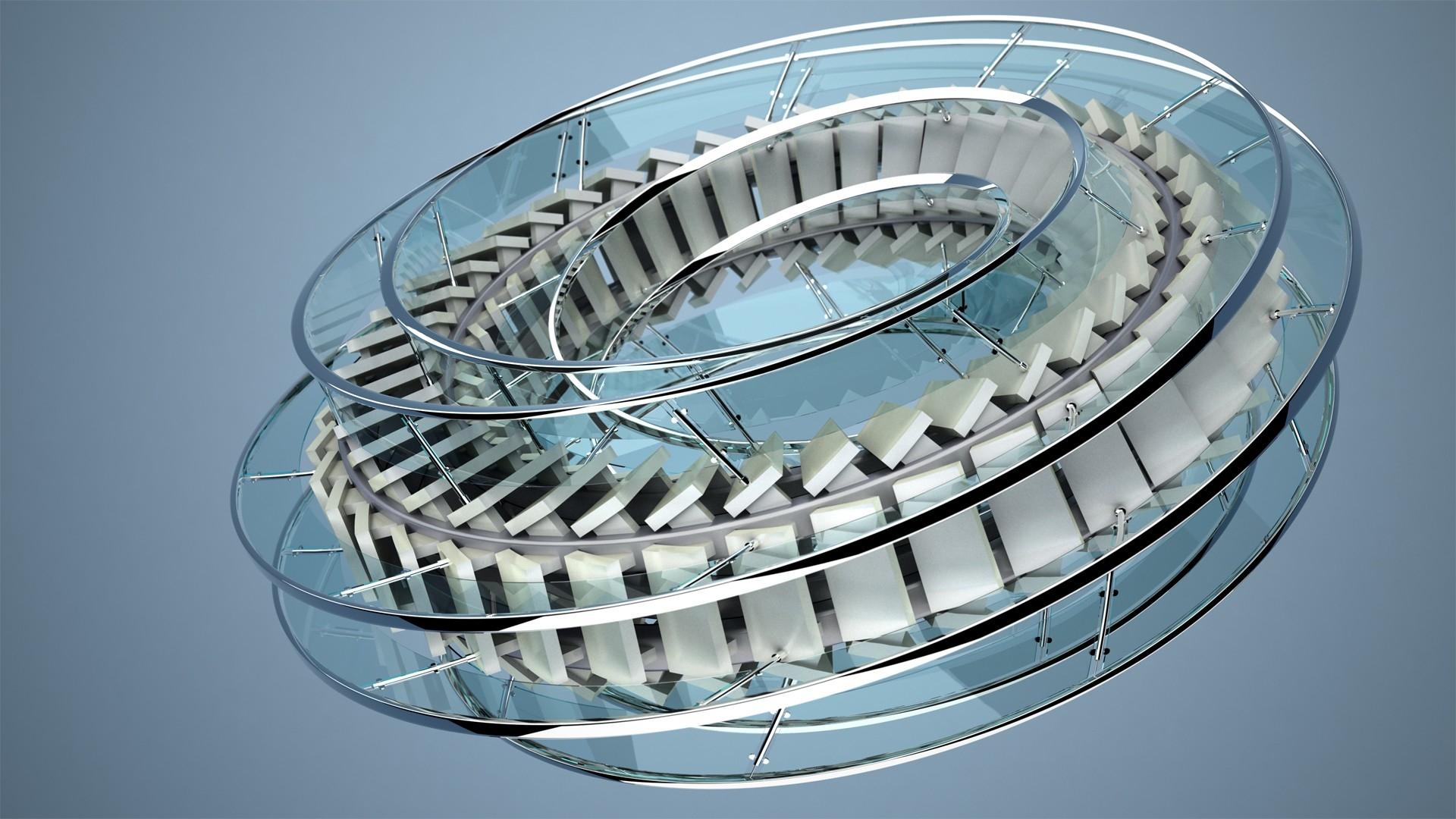 Circle, Staircase, Glass