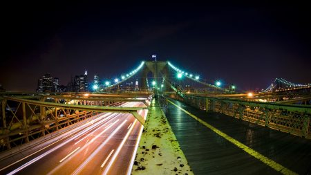 city, bridge, city lights