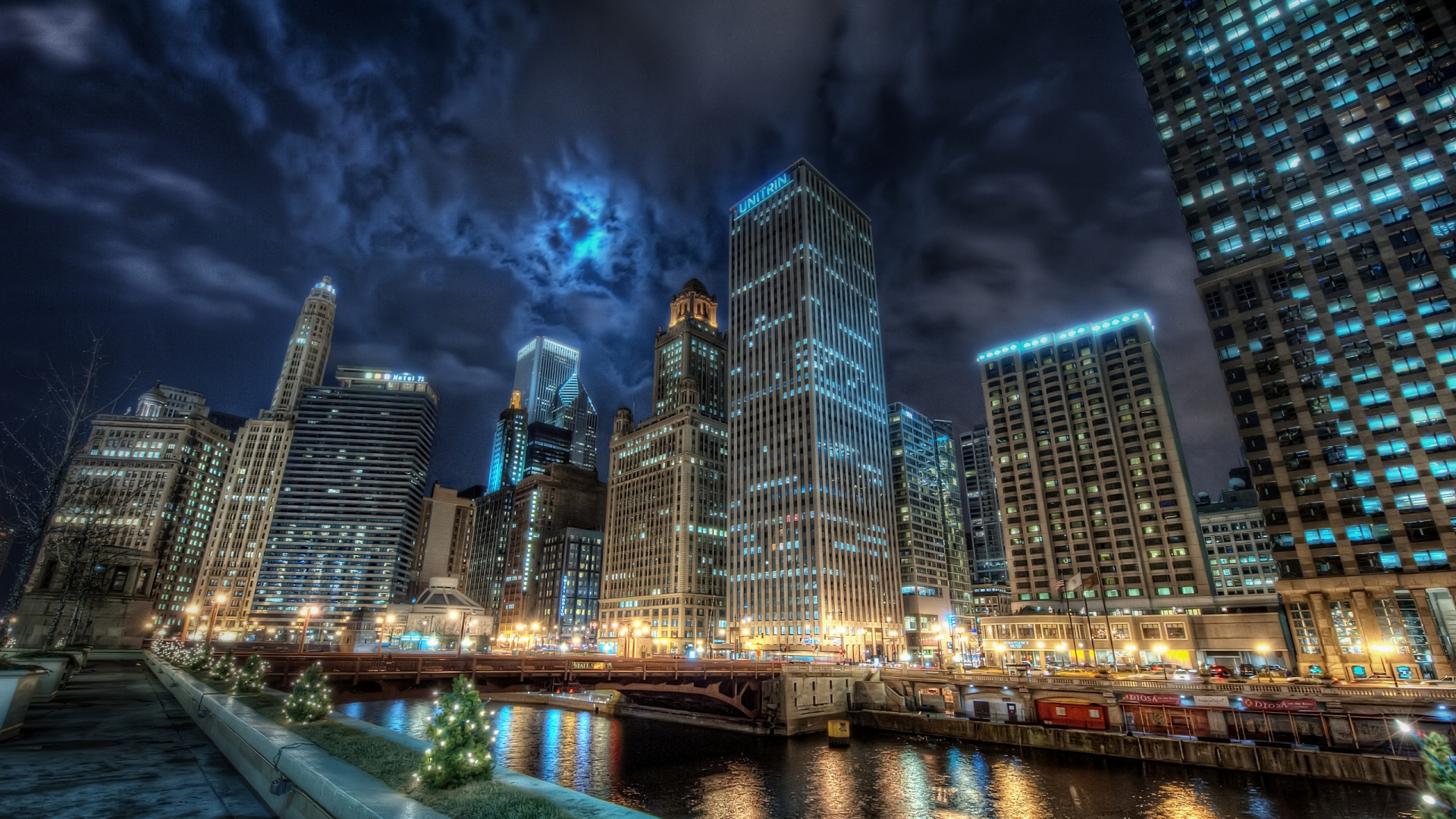 Must see Wallpaper Mac Chicago - city_chicago_channel_water_lights_reflection_night_america_united_states_states_59470_1920x1080  Picture_273810.jpg