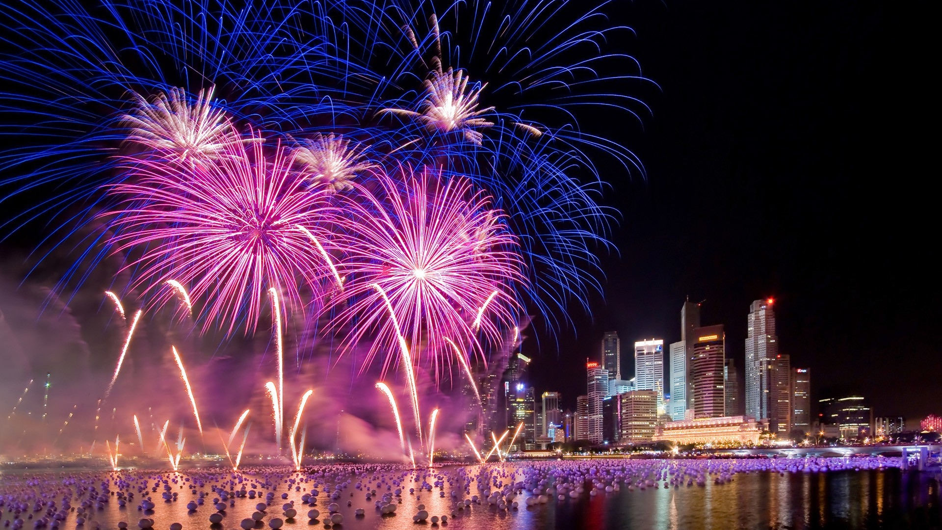 Download Wallpaper 1920x1080 City Holiday Night Sky Fireworks