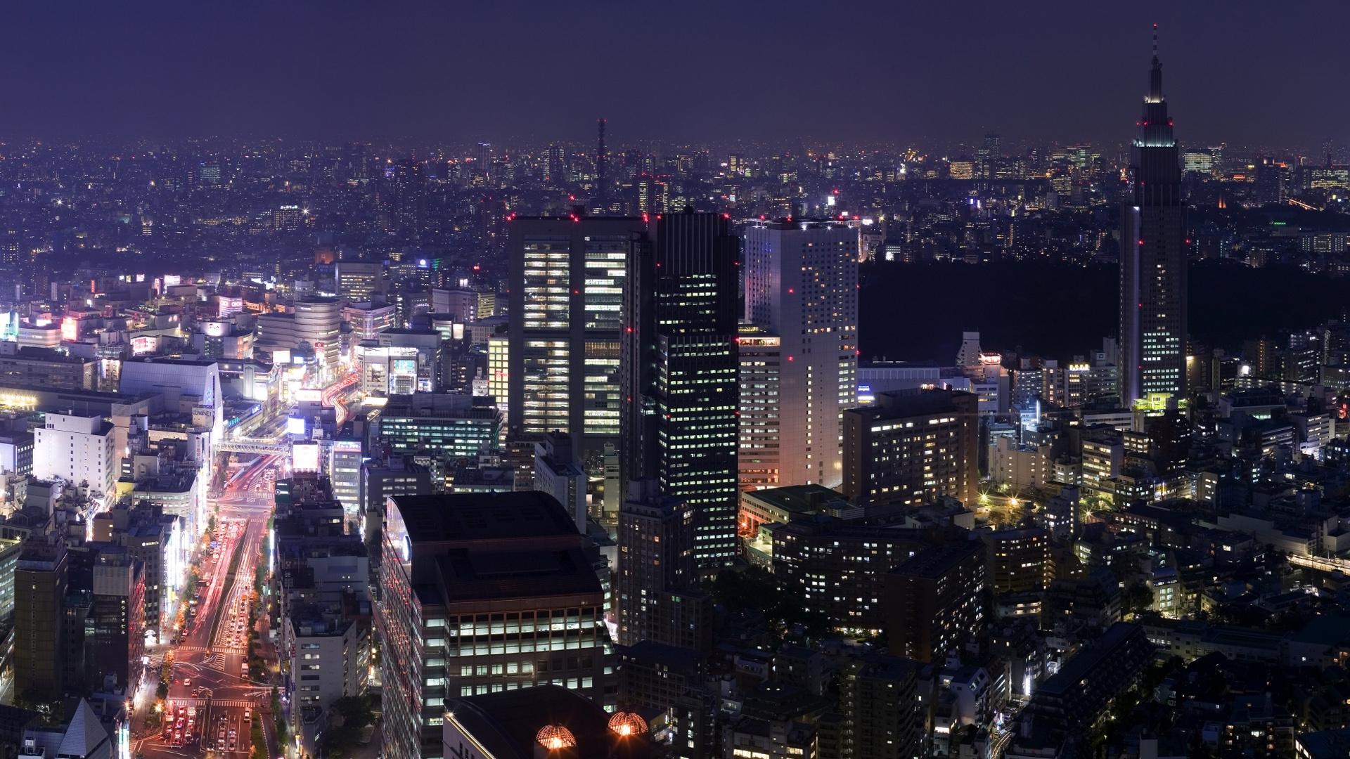 Download Wallpaper 1920x1080 City Night Skyscraper Lilac Full HD