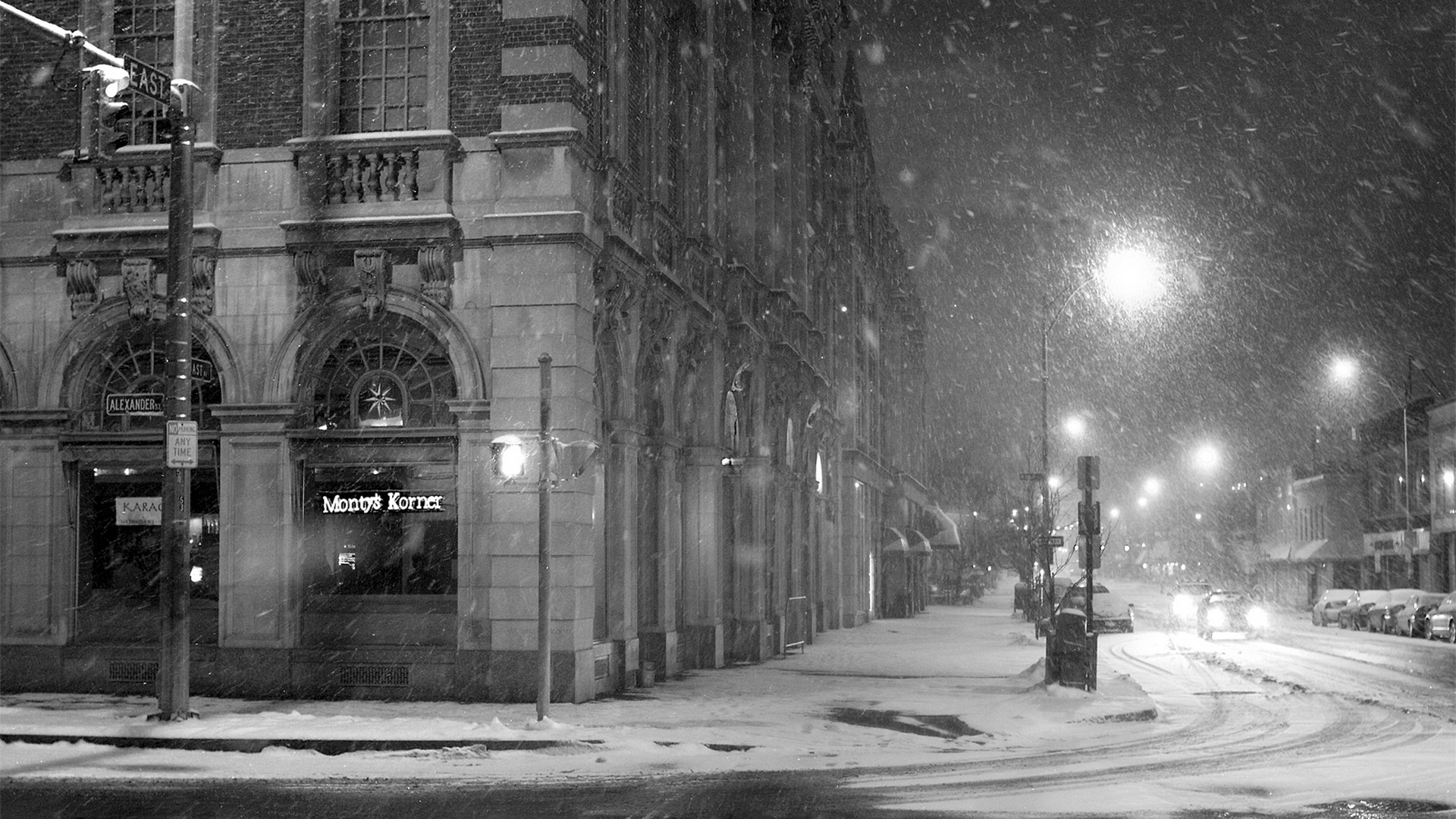 Download Wallpaper 1920x1080 City Street Snow Winter Lane Black
