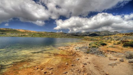 coast, lake, stones